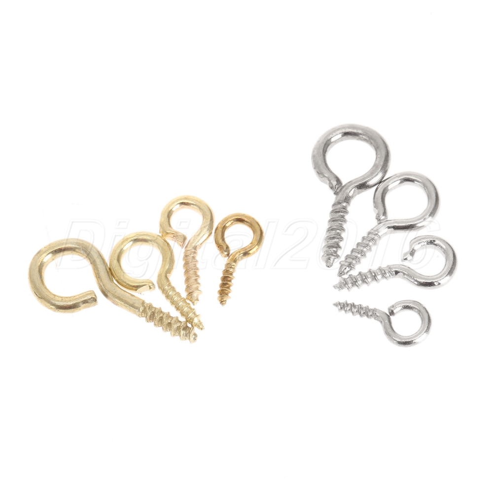 200pc Eye Pins Eyelets Screw Threaded Clasp Hook Jewelry Findings Craft Hardware